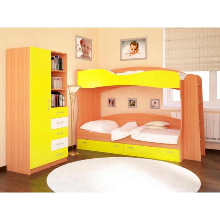 Кровать двухъярусная 2 + шкаф