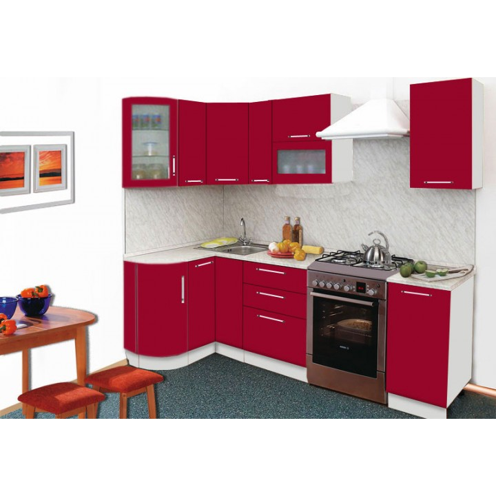 Кухня Трапеза Престиж с гнутыми фасадами 1230х2085